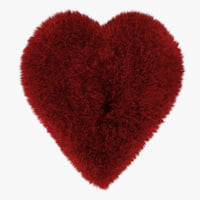 wool red heart rug 3D model