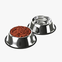 Stainless Steel Dog Bowl with food