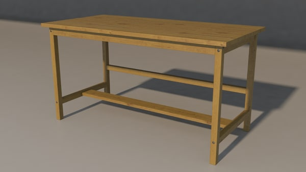work table wood 3D