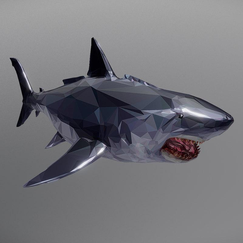 3D dark shark art ocean model