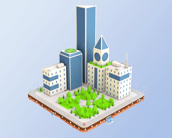 3D city block buildings skyscraper model