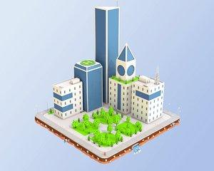 3D city block buildings skyscraper model