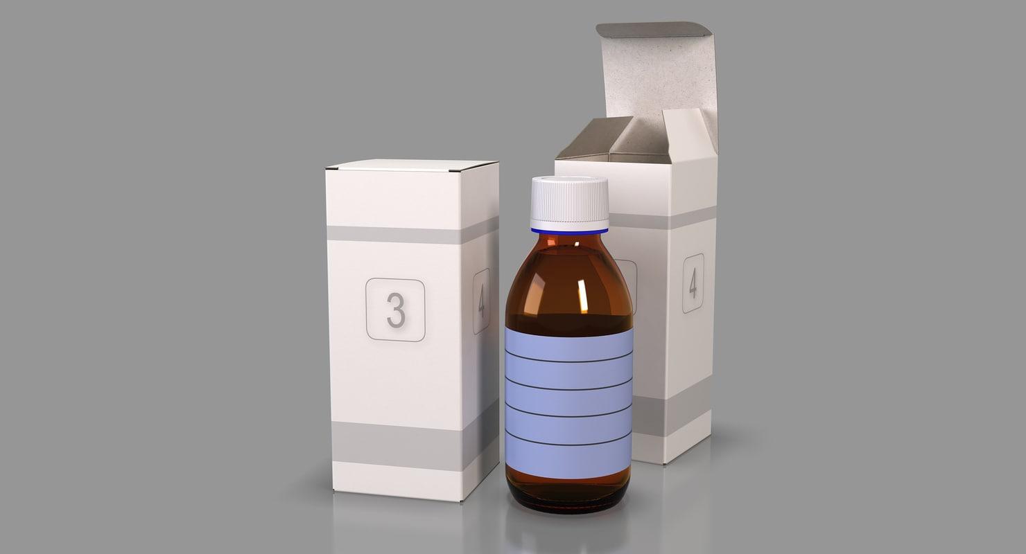 3D medicine glass bottle packaging