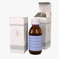 3D medicine glass bottle packaging