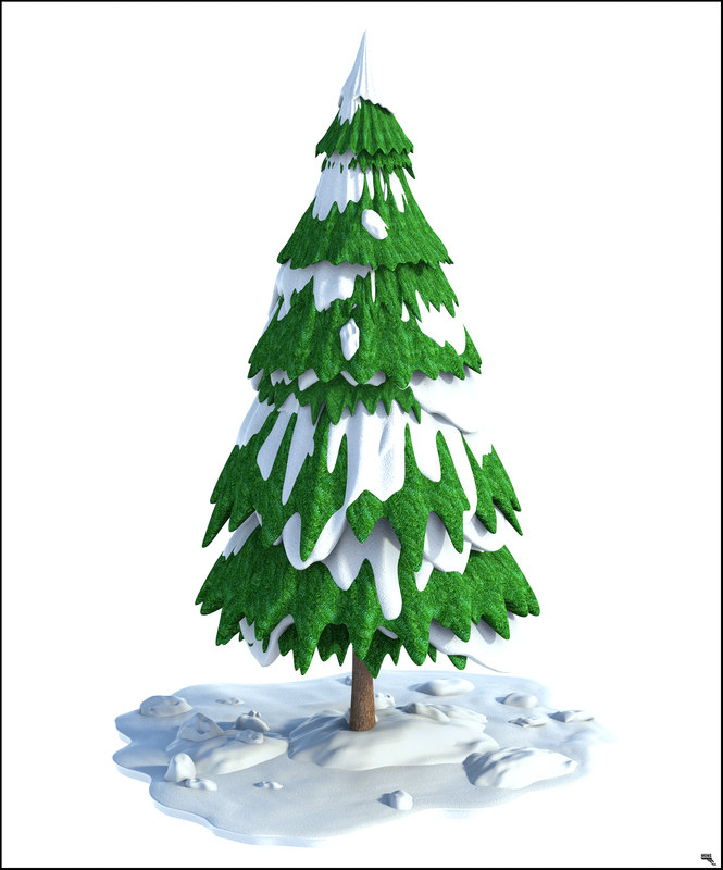 3D tree snow christmas model