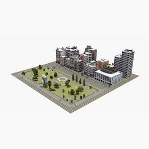 3D city block park model
