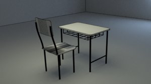 school chair table 3D model