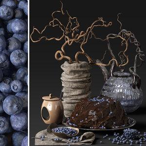 3D cake blueberry model