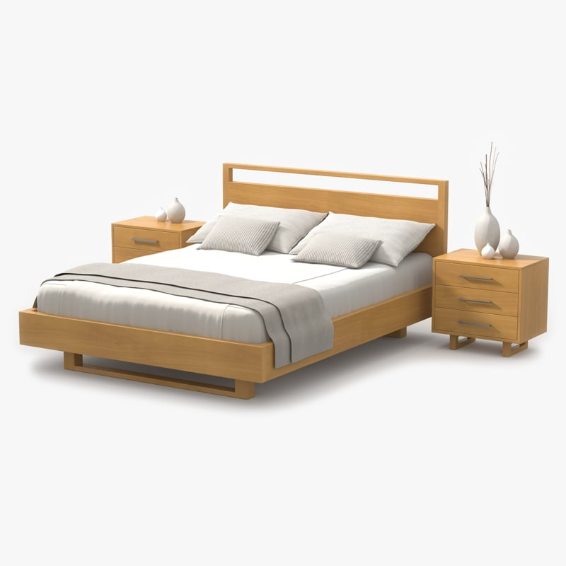 3d model bed maple wood