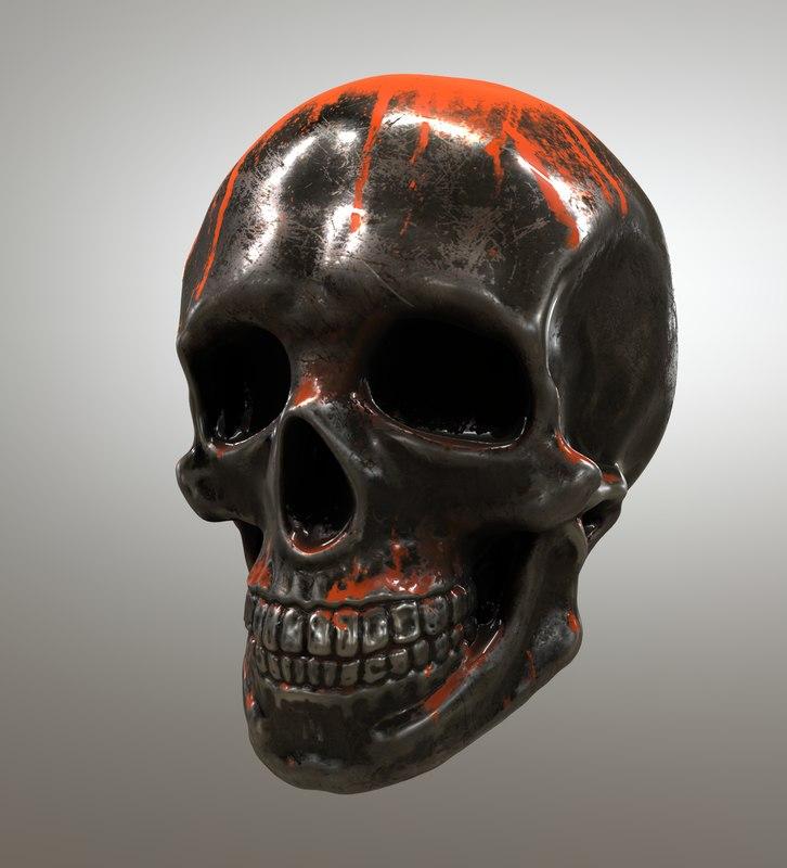3D metal skull