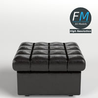 3D leather pouf sofa couch model