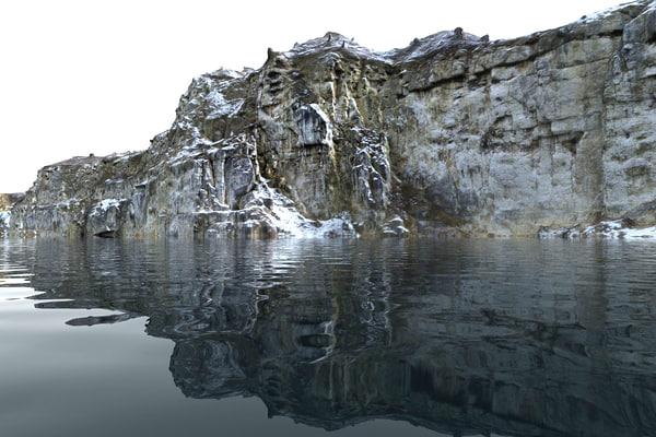 3D mega winter cliff -quarry model
