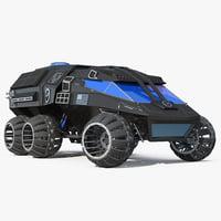 NASA Futuristic Mars Rover Concept Rigged 3D Model
