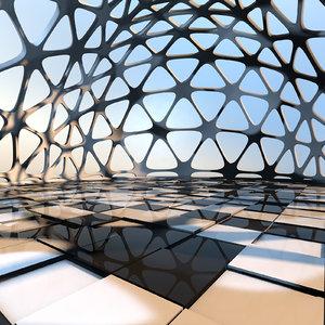 designs futuristic interior space 3D model