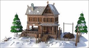 3D snow house mountain model