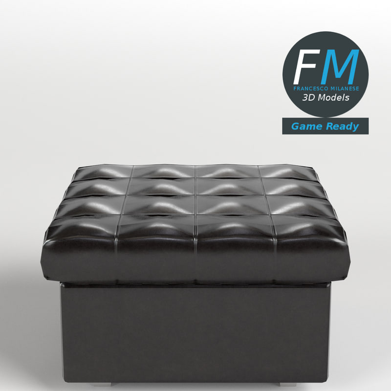 3D model leather pouf sofa gr