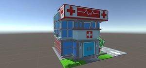 voxel hospital pixel art 3D model