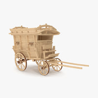 3D high-poly wooden carriage