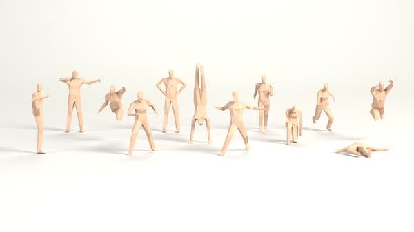 3D people male poised model