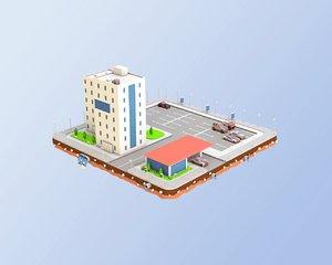 3D car service buildings
