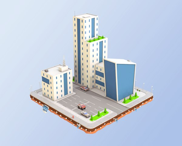 3D city block buildings