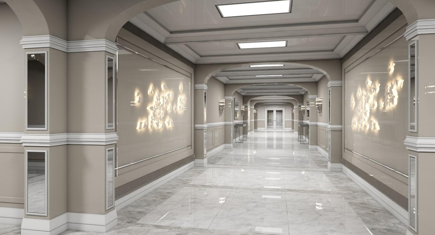3D corridor interior 3 model
