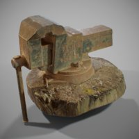 3D pbr rusted vise