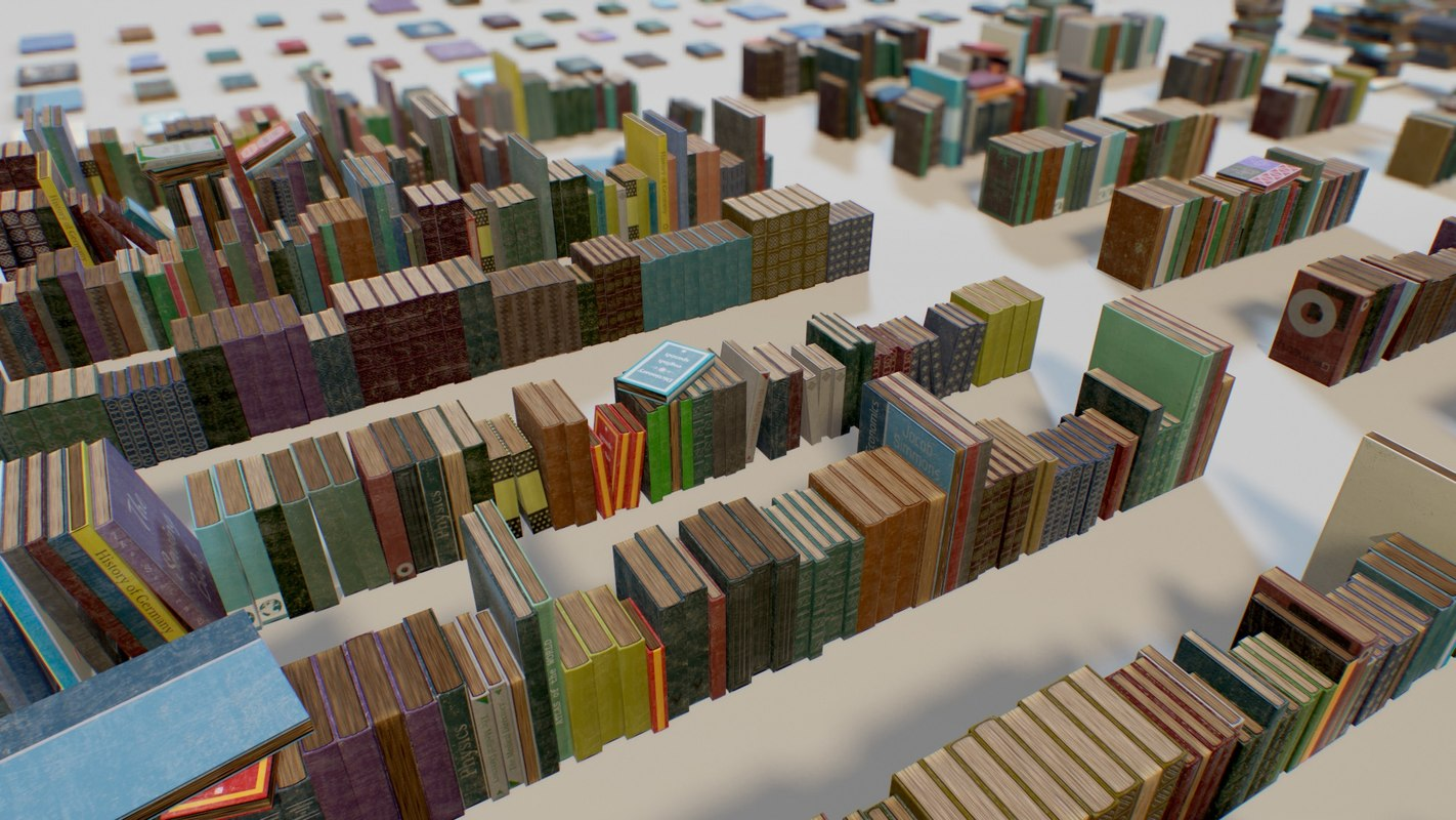 pbr books set 3D model