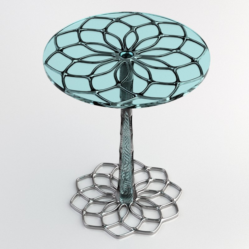 realistic glass table 3D