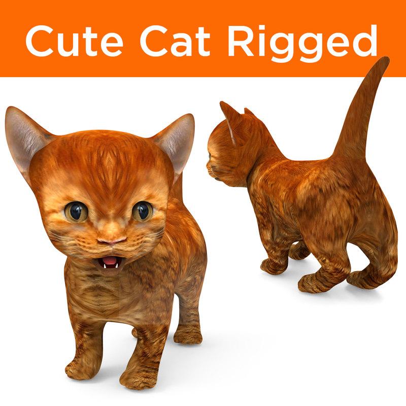 3D cute cartoon cat rigged
