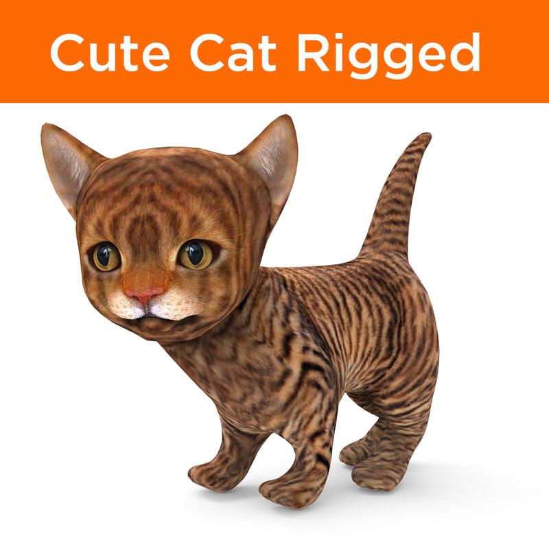 3D cute cartoon cat rigged model