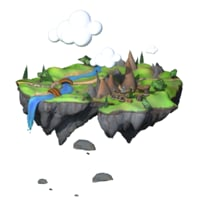 3D island cartoon ready model