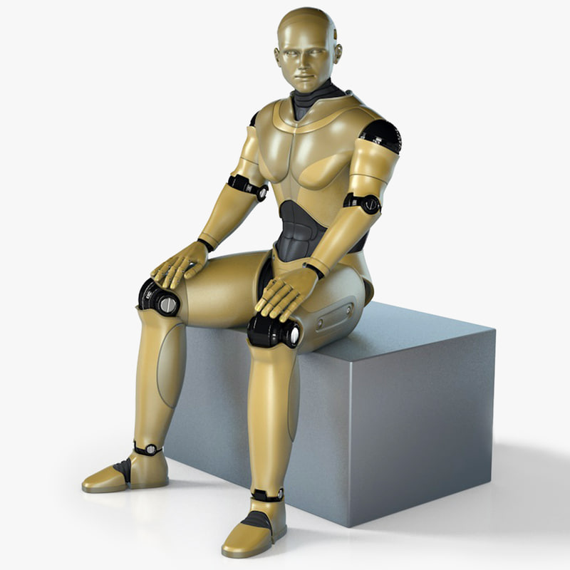 animation male robot rigged 3D model