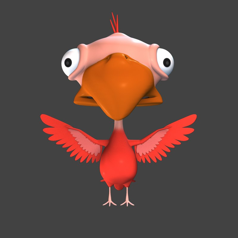 3D model cartoon bird