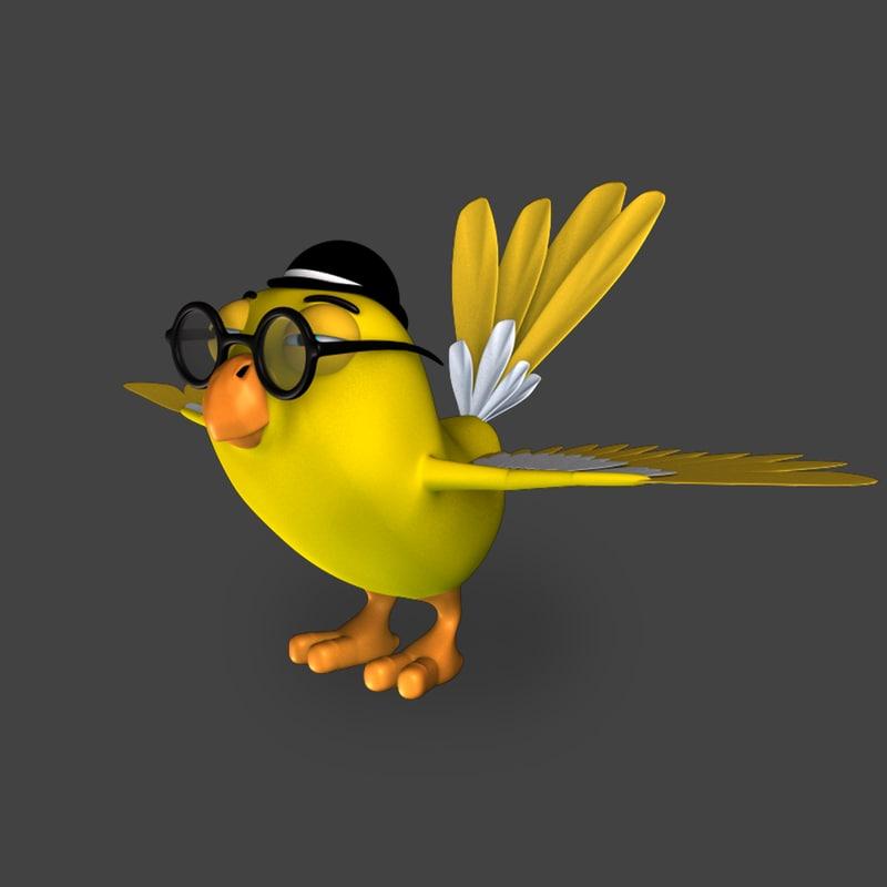 cartoon bird a2 3D