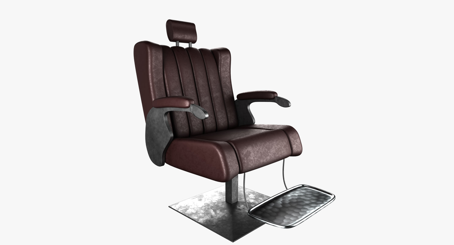 realistic barber chair 3D model