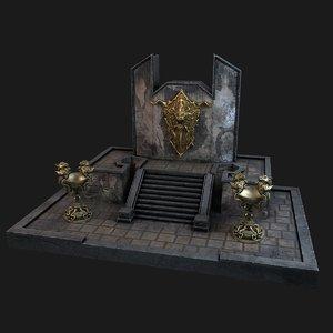 3D ancient wall lampadas shield