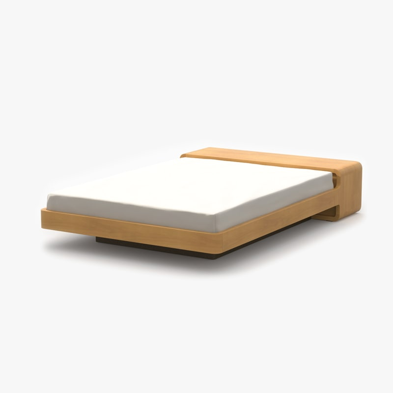 simple bed maple wood 3d model