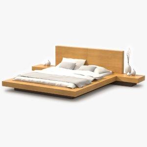 3d platform bed maple wood model