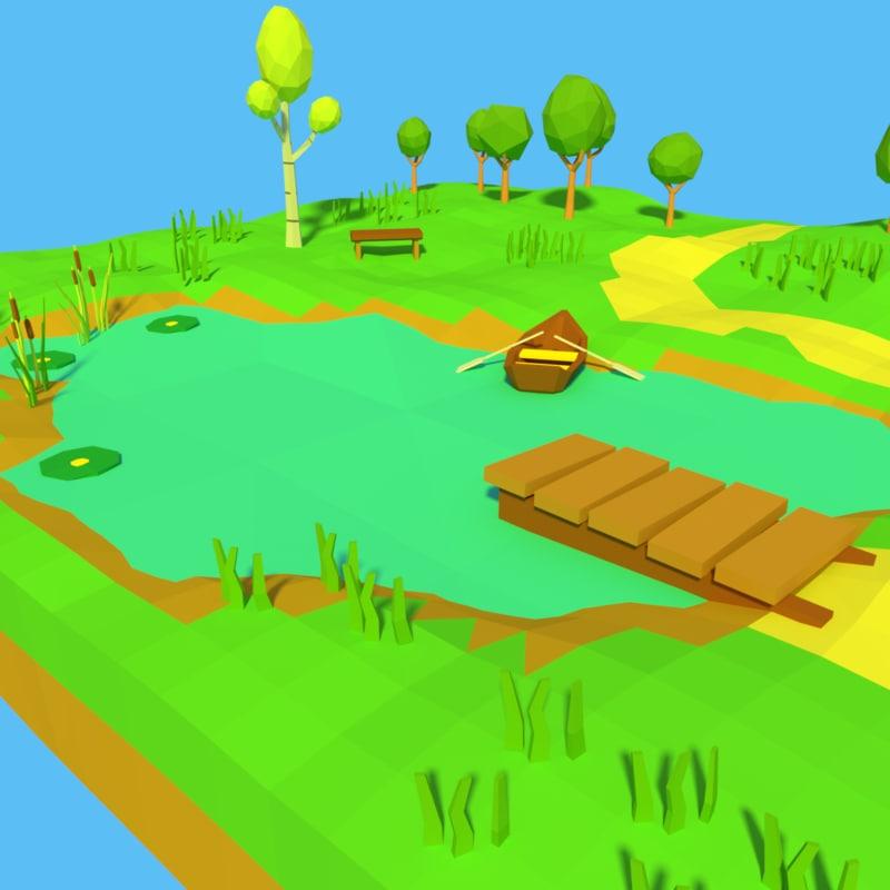 3D model cartoon forest pond