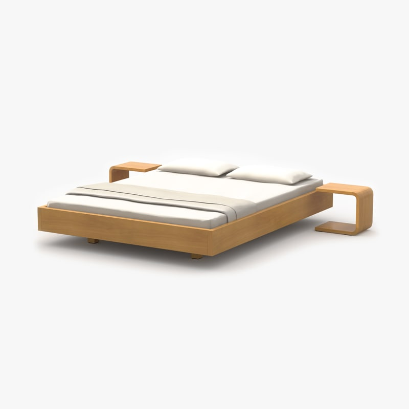 3d simple bed maple wood model