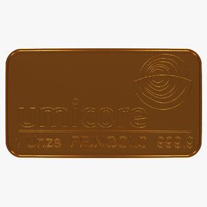 3D model gold bar 1 ounce