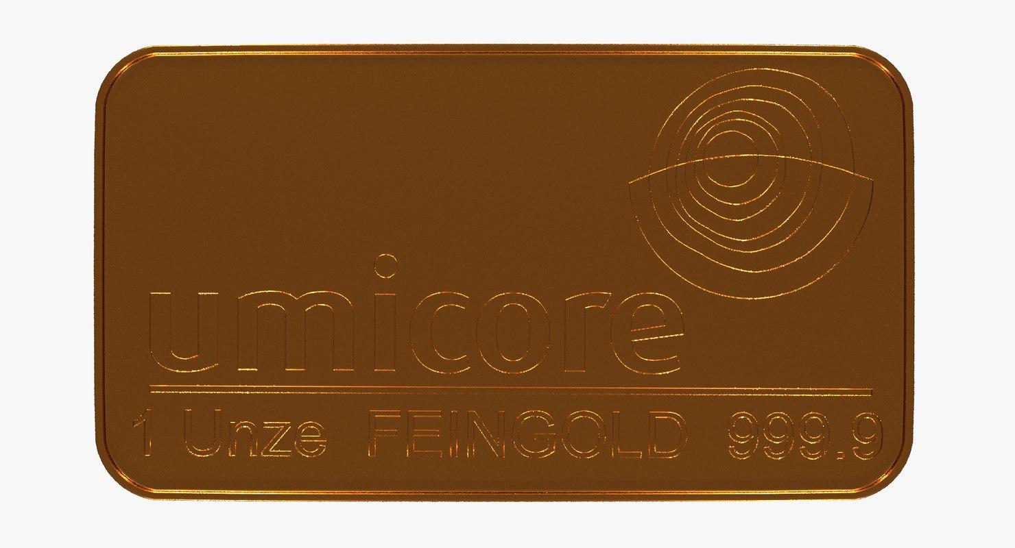 3D model gold bar 1 ounce
