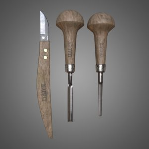 wood carving tools - model