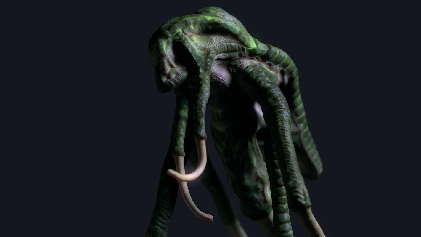 3D green alien creature