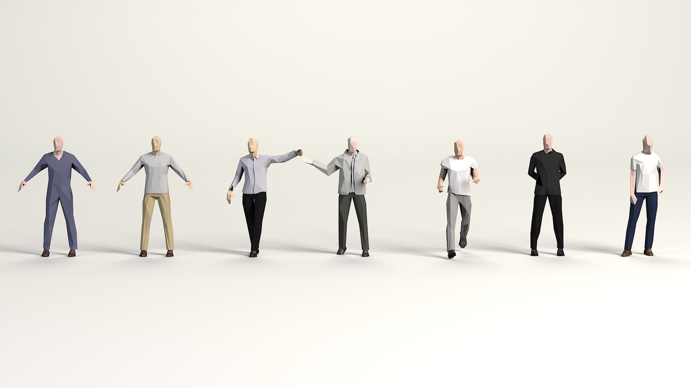 cartoon clothed males pack model