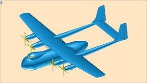 3D british argosy transport aircraft model