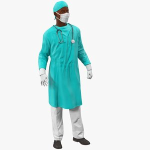3d male african american surgeon