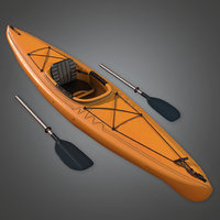Kayak and Paddles (Camping) - PBR Game Ready