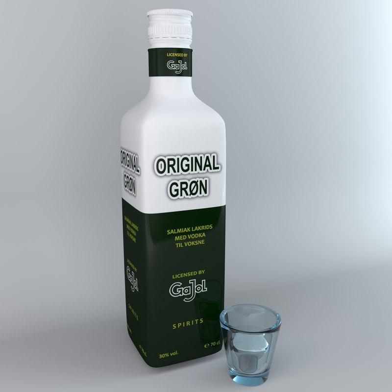 3D alcohol bottle gajol